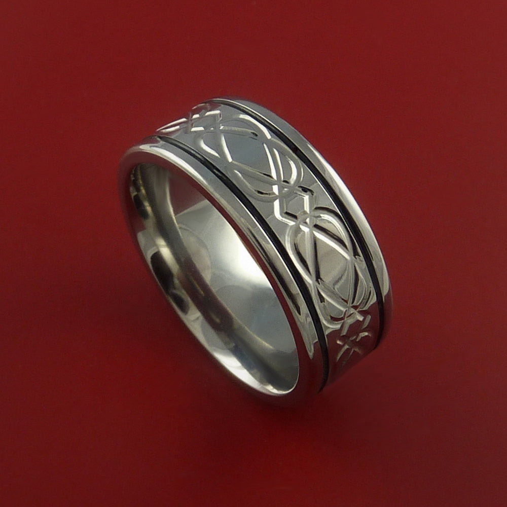Titanium Celtic Band Wedding Ring Custom Color Inlay Made to Any Size 3 to 22 - Stonebrook Jewelry  - 1