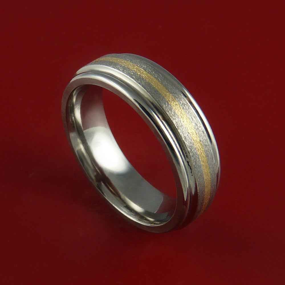 Yellow Gold and Titanium Ring Custom Made Band Any Finish and Sizing from 3-22 by Stonebrook Jewelry