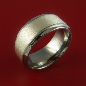 Titanium Ring with Wide Silver Inlay Wedding Band Any Size