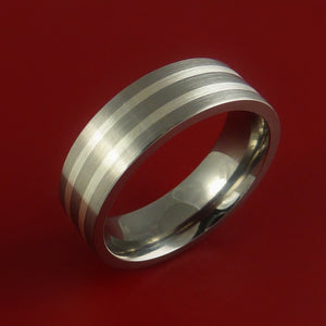 Titanium Ring with Two Silver Inlay Wedding Band Any Size and Finish 3-22