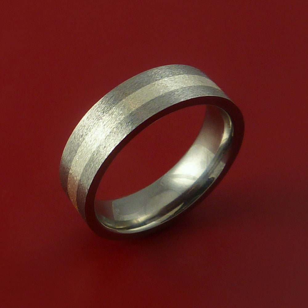 Titanium Ring with Silver Inlay Wedding Band Any Size and Finish Modern Look - Stonebrook Jewelry  - 3
