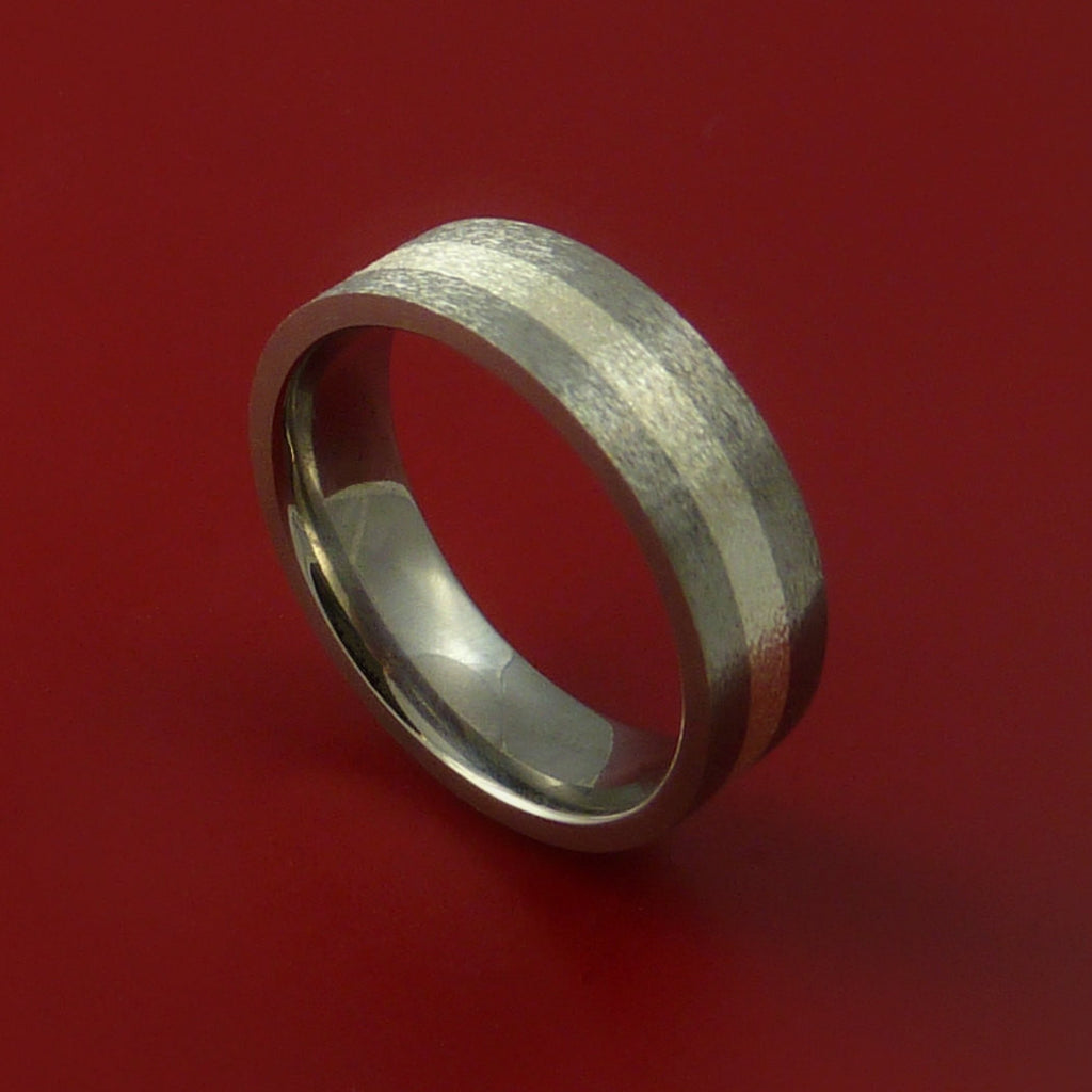 Titanium Ring with Silver Inlay Wedding Band Any Size and Finish Modern Look by Stonebrook Jewelry