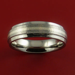 Titanium Ring with Silver Inlay Wedding Band Made to Any Size and Finish 3-22