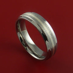 Titanium Ring with Silver Inlay Wedding Band Made to Any Size and Finish 3-22 - Stonebrook Jewelry  - 1