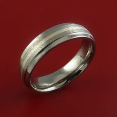 Titanium Ring with Silver Inlay Wedding Band Made to Any Size and Finish 3-22 - Stonebrook Jewelry  - 2
