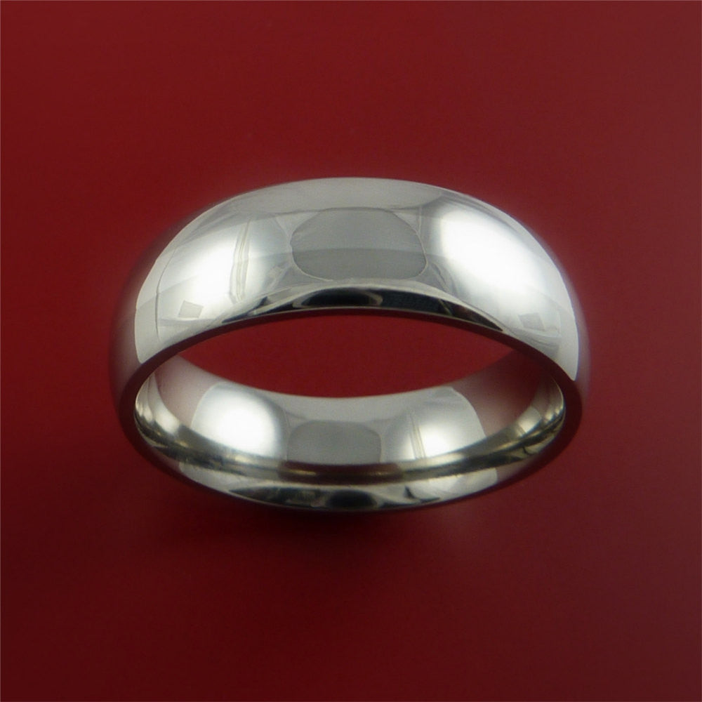 Titanium Ring Classic Style with Silver Inlay Wedding Band Any Size and Finish - Stonebrook Jewelry  - 3