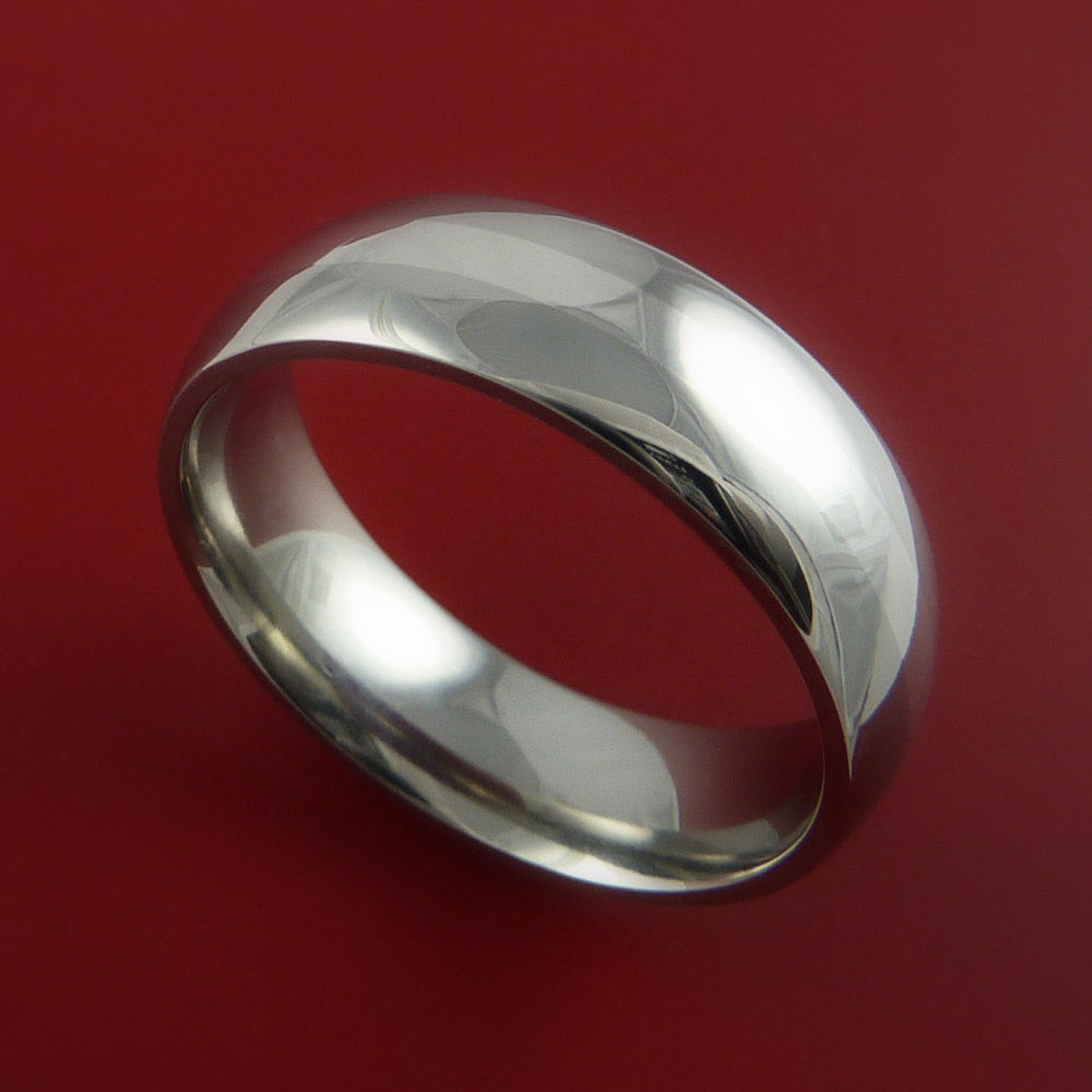 Titanium Ring Classic Style with Silver Inlay Wedding Band Any Size and Finish by Stonebrook Jewelry