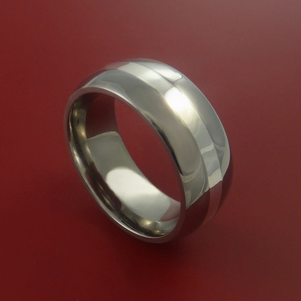Titanium Ring with Fashionable Platinum Inlay Wedding Band Made to Any Size and Finish