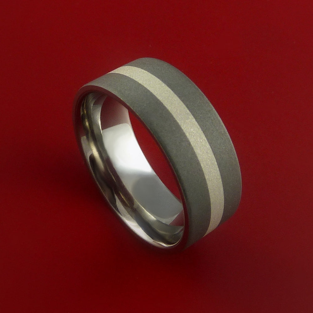 Titanium Ring with Silver Inlay Wedding Band Any Size Sandblast Finish by Stonebrook Jewelry