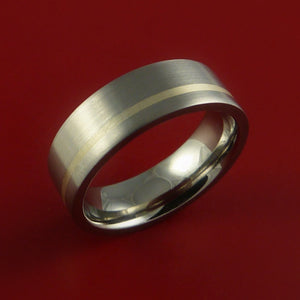 Titanium Ring with Sterling Silver Inlay Custom Made Band