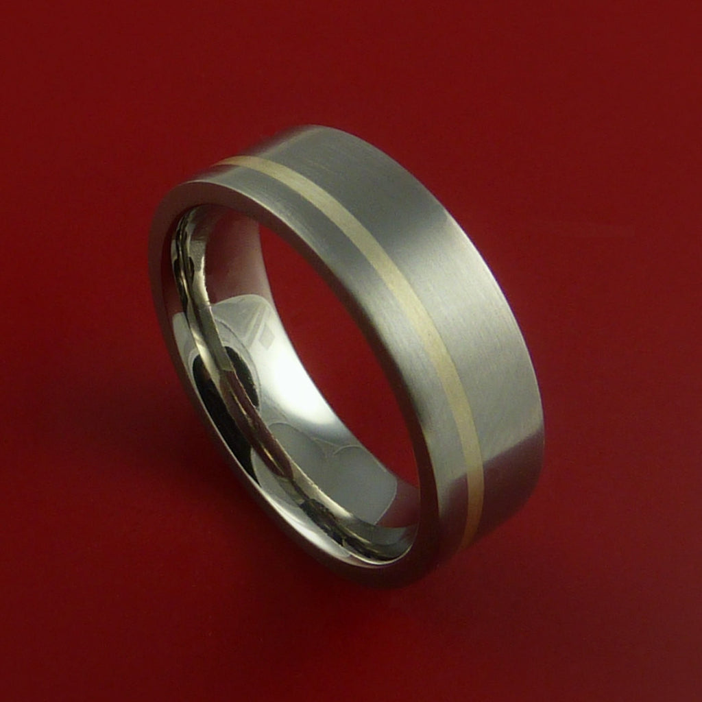 Titanium Ring Classic Silver Inlay Wedding Band Any Size and Finish by Stonebrook Jewelry