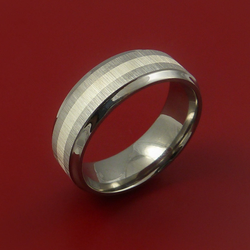 Titanium Ring with Silver Inlay Wedding Band Any Size and Finish Alternative Look - Stonebrook Jewelry  - 2