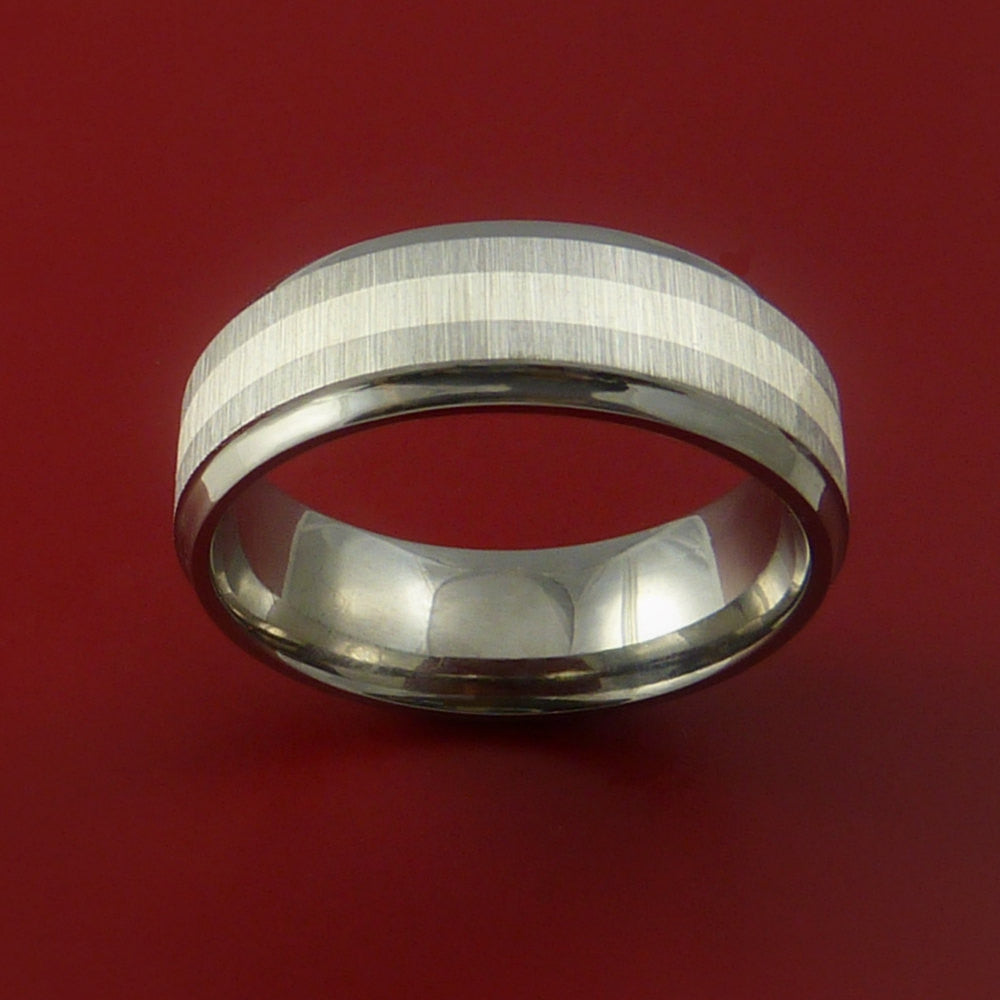 Titanium Ring with Silver Inlay Wedding Band Any Size and Finish Alternative Look by Stonebrook Jewelry
