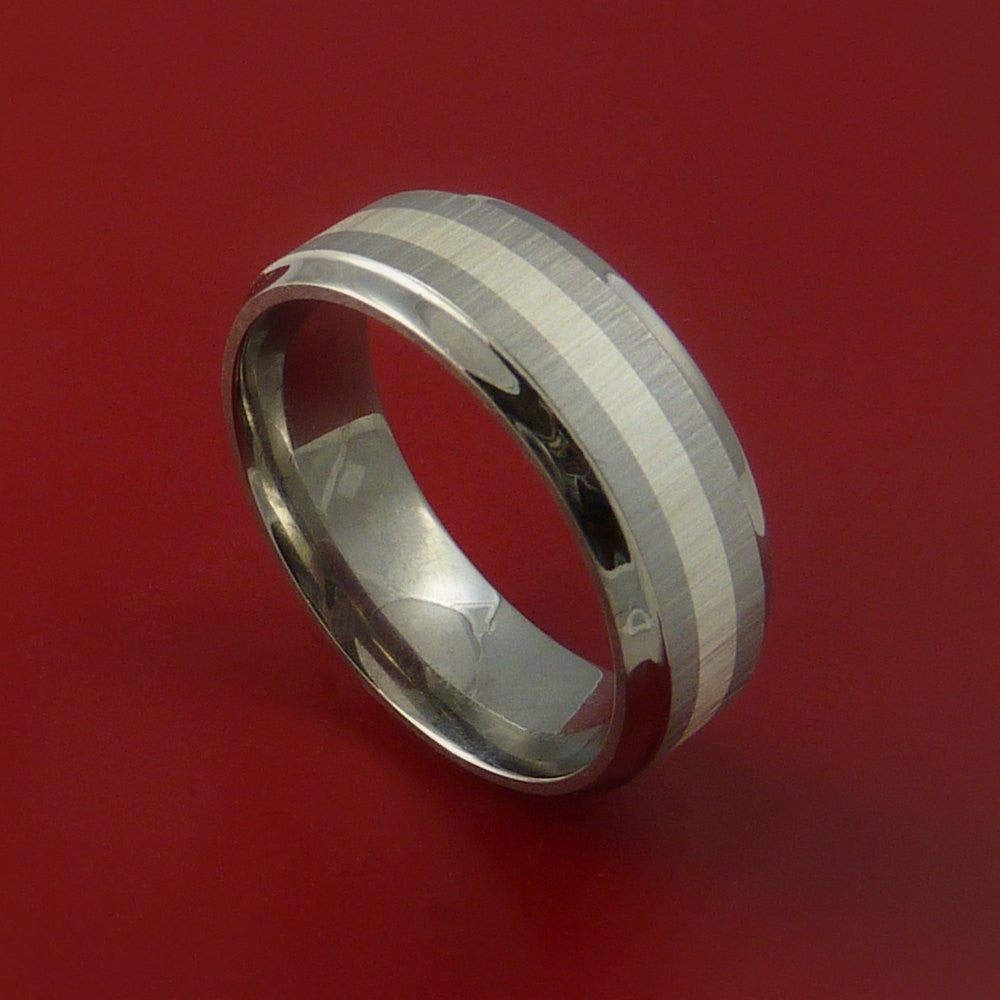 Titanium Ring with Silver Inlay Wedding Band Any Size and Finish Alternative Look - Stonebrook Jewelry  - 1