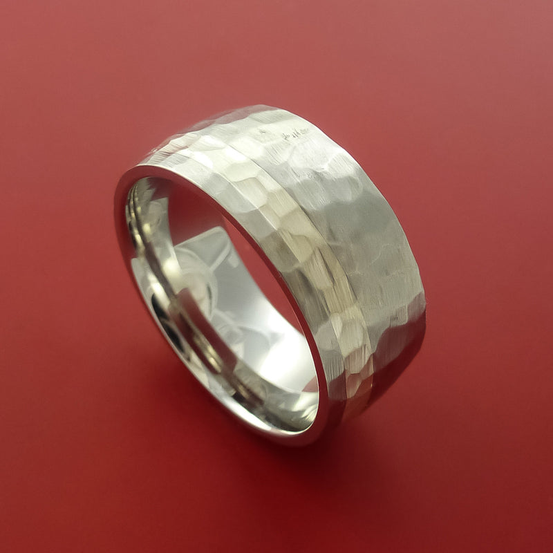Cobalt Chrome Hammer Finish Silver Inlay Wedding Band Engagement Ring Made to Any Sizing and Finish 3-22