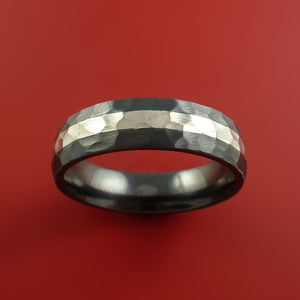 Hammered Black Zirconium Ring with Sterling Silver Inlay Custom Made Band