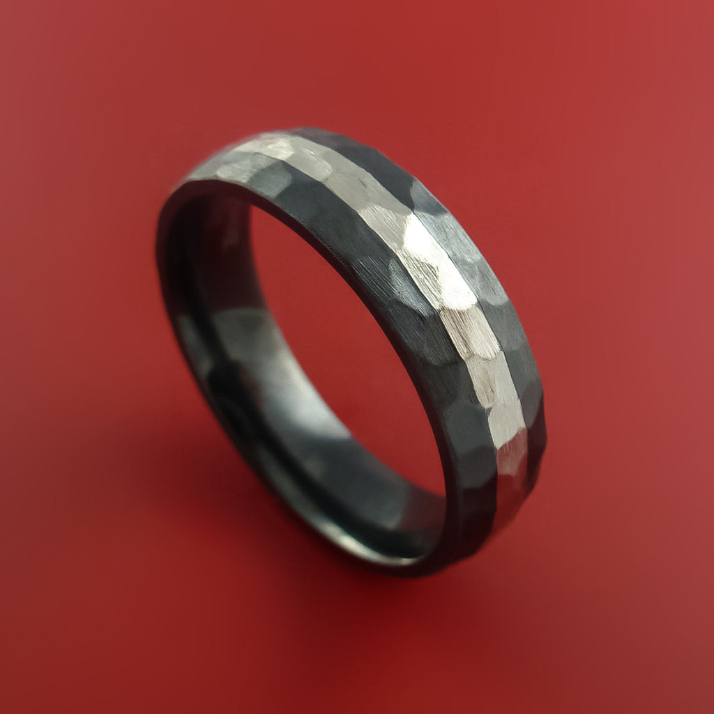 Black Zirconium Hammer Finish Band Sterling Silver Inlay Ring Made to Any Sizing 3-22 by Stonebrook Jewelry