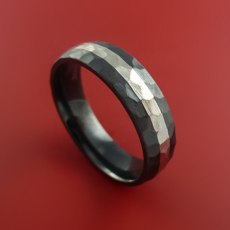 Black Zirconium Hammer Finish Band Sterling Silver Inlay Ring Made to Any Sizing 3-22