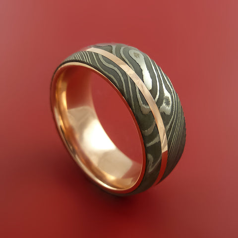 Damascus Steel 14K Rose Gold Ring Wedding Band Custom Made by Stonebrook Jewelry