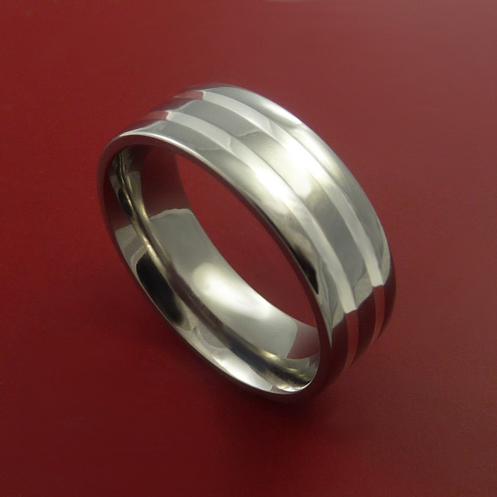 Titanium Ring with Two Silver Inlay Wedding Band Any Size and Finish 3-22 by Stonebrook Jewelry