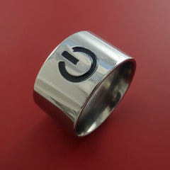 Titanium Power Symbol Computer Geek Ring ON and OFF Color Any Sizing, Color, and Finish - Stonebrook Jewelry  - 2