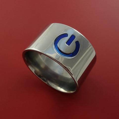 Titanium Power Symbol Computer Geek Ring ON and OFF Color Any Sizing, Color, and Finish