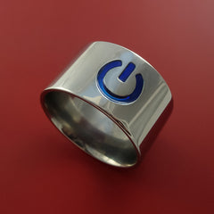Titanium Power Symbol Computer Geek Ring ON and OFF Color Any Sizing, Color, and Finish by Stonebrook Jewelry