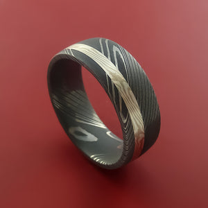 Damascus Steel Ring with Palladium and Sterling Silver Mokume Gane Inlay Custom Made Band
