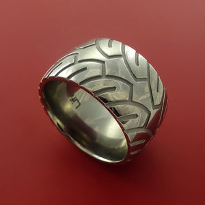 Wide Titanium Ring with Motorcycle Tire Tread Pattern Inlay Custom Made Band