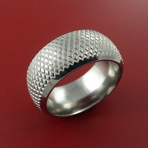 Cobalt Chrome Wide Ring Textured Knurl Pattern Band Made to Any Sizing and Finish 3-22
