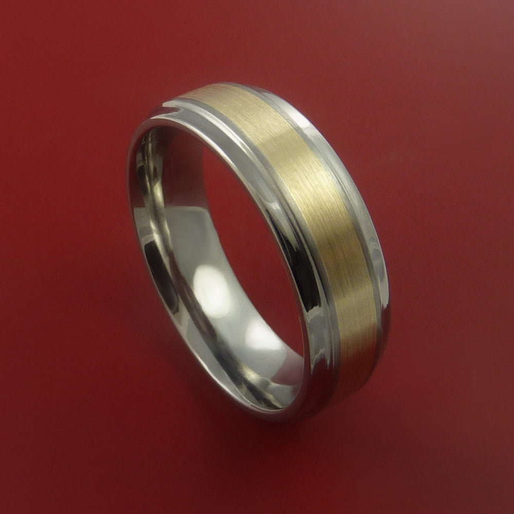 14K Yellow Gold Ring and Titanium Band Any Finish and Sizing from 3-22 by Stonebrook Jewelry