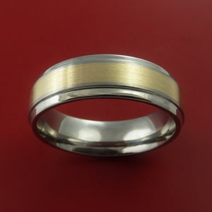 14K Yellow Gold Ring and Titanium Band Any Finish and Sizing from 3-22