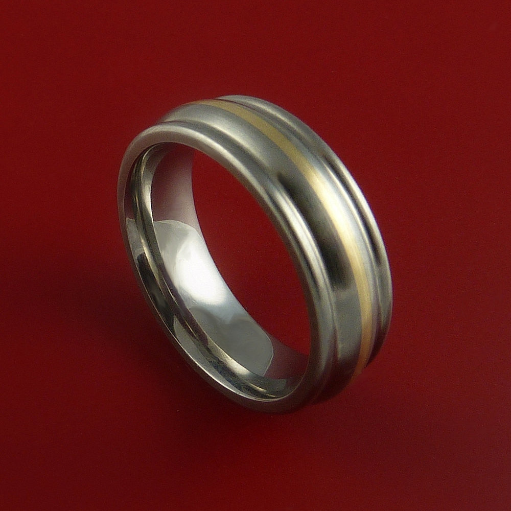Yellow Gold and Titanium Custom Made Band Any Finish and Sizing from 3-22 - Stonebrook Jewelry  - 1