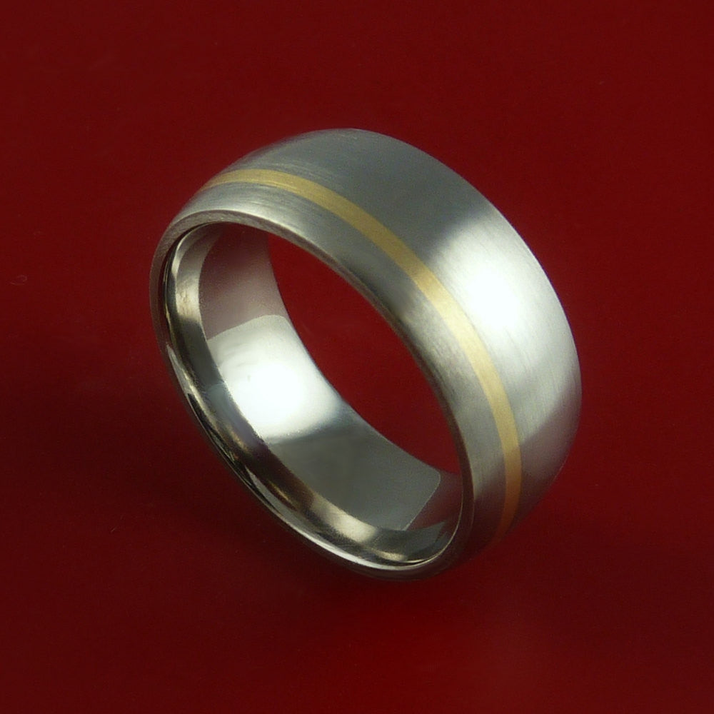 Titanium 14K Yellow Gold Ring Custom made Band Any Finish and Sizing from 3-22 - Stonebrook Jewelry  - 1