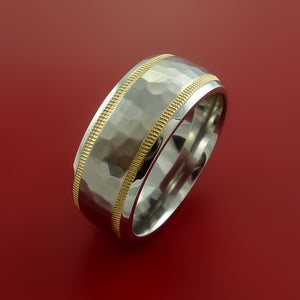 Cobalt Chrome and 14K Yellow Gold Wedding Band Hammer Finish Engagement Ring Made to Any Sizing 3-22