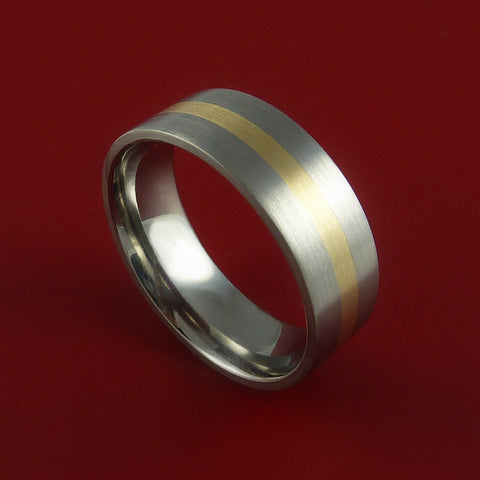 14K Yellow Gold and Titanium Custom Made Band Any Finish and Sizing from 3-22