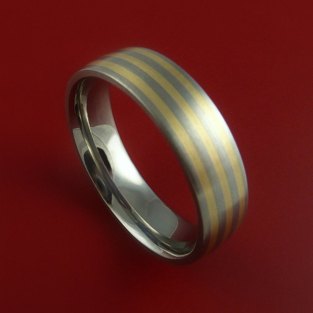 Titanium 14K Yellow Gold Ring Custom Made Band Any Finish and Sizing 3-22 by Stonebrook Jewelry