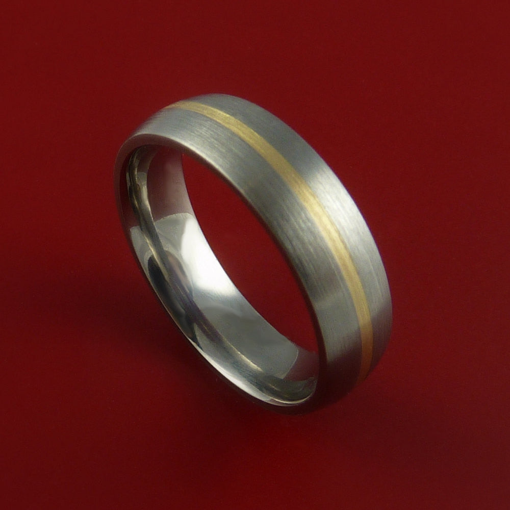 Yellow Gold and Titanium Ring Custom Made Band Any Finish and Sizing from 3-22 - Stonebrook Jewelry  - 1