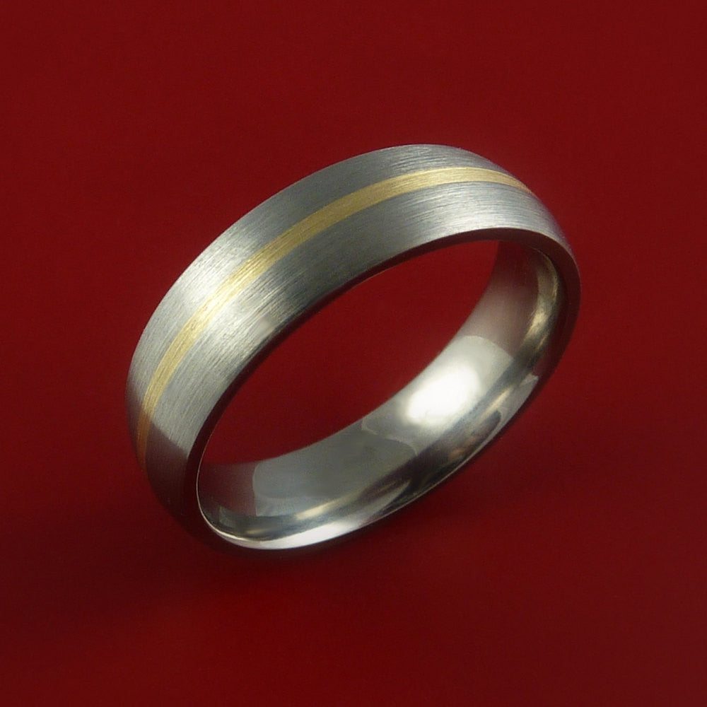 Yellow Gold and Titanium Ring Custom Made Band Any Finish and Sizing from 3-22 - Stonebrook Jewelry  - 2