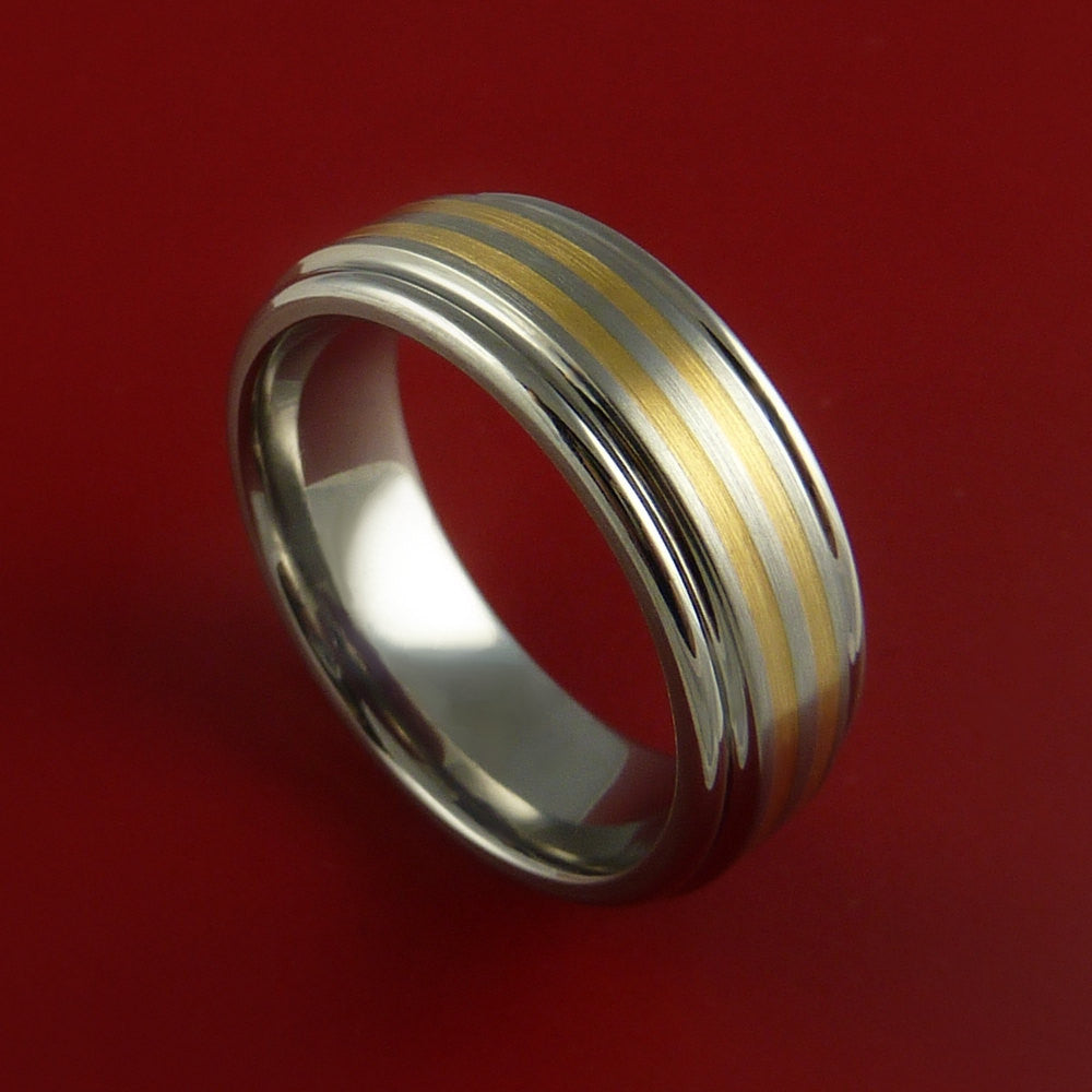 Titanium and 14K Yellow Gold Inlay Ring Wedding Band Any Size and Finish Sizing 3-22 by Stonebrook Jewelry
