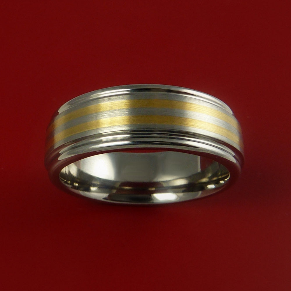 Titanium and 14K Yellow Gold Inlay Ring Wedding Band Any Size and Finish Sizing 3-22 - Stonebrook Jewelry  - 3
