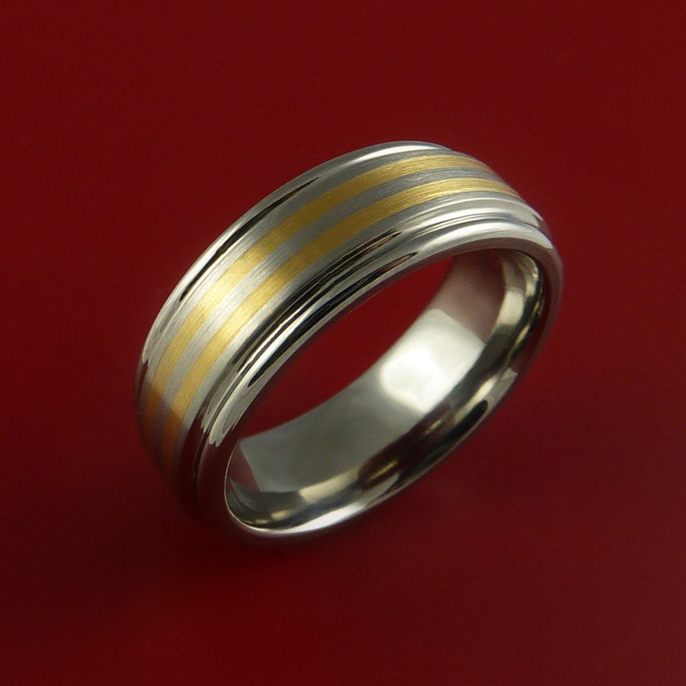 Titanium and 14K Yellow Gold Inlay Ring Wedding Band Any Size and Finish Sizing 3-22 - Stonebrook Jewelry  - 2