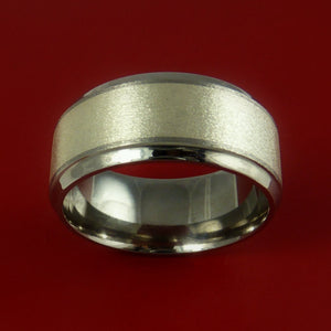 Wide Titanium Ring with 14K White Gold Inlay Custom Made Band