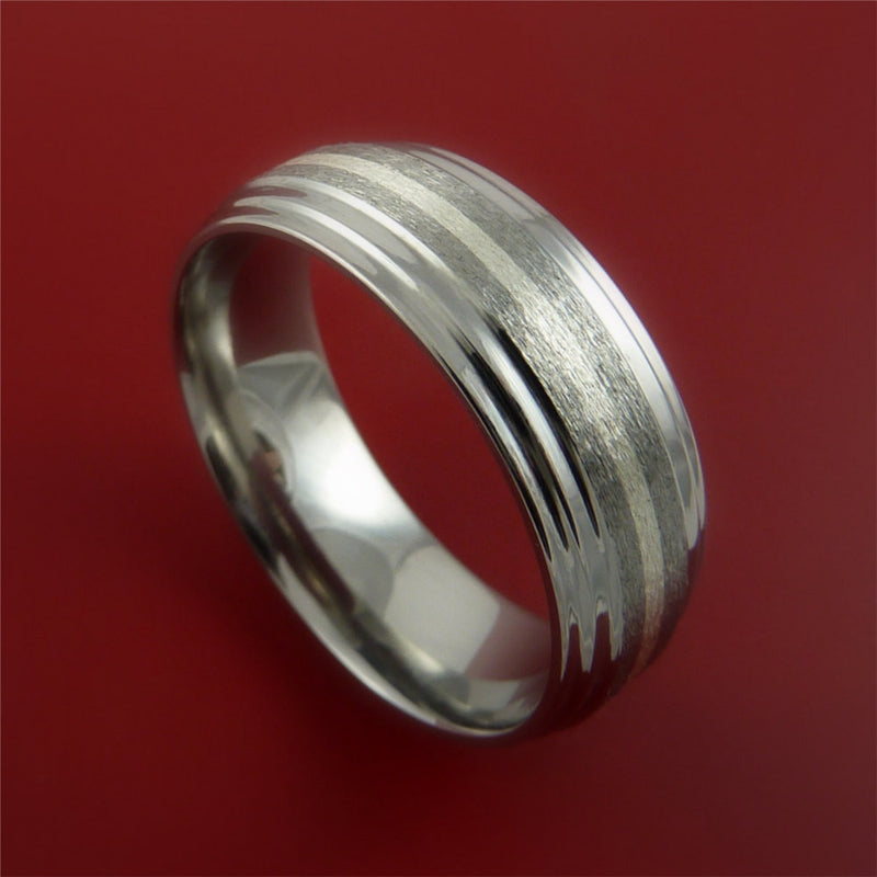 Titanium Ring with 14K White Gold Inlay Wedding Band Any Size and Finish 3-22