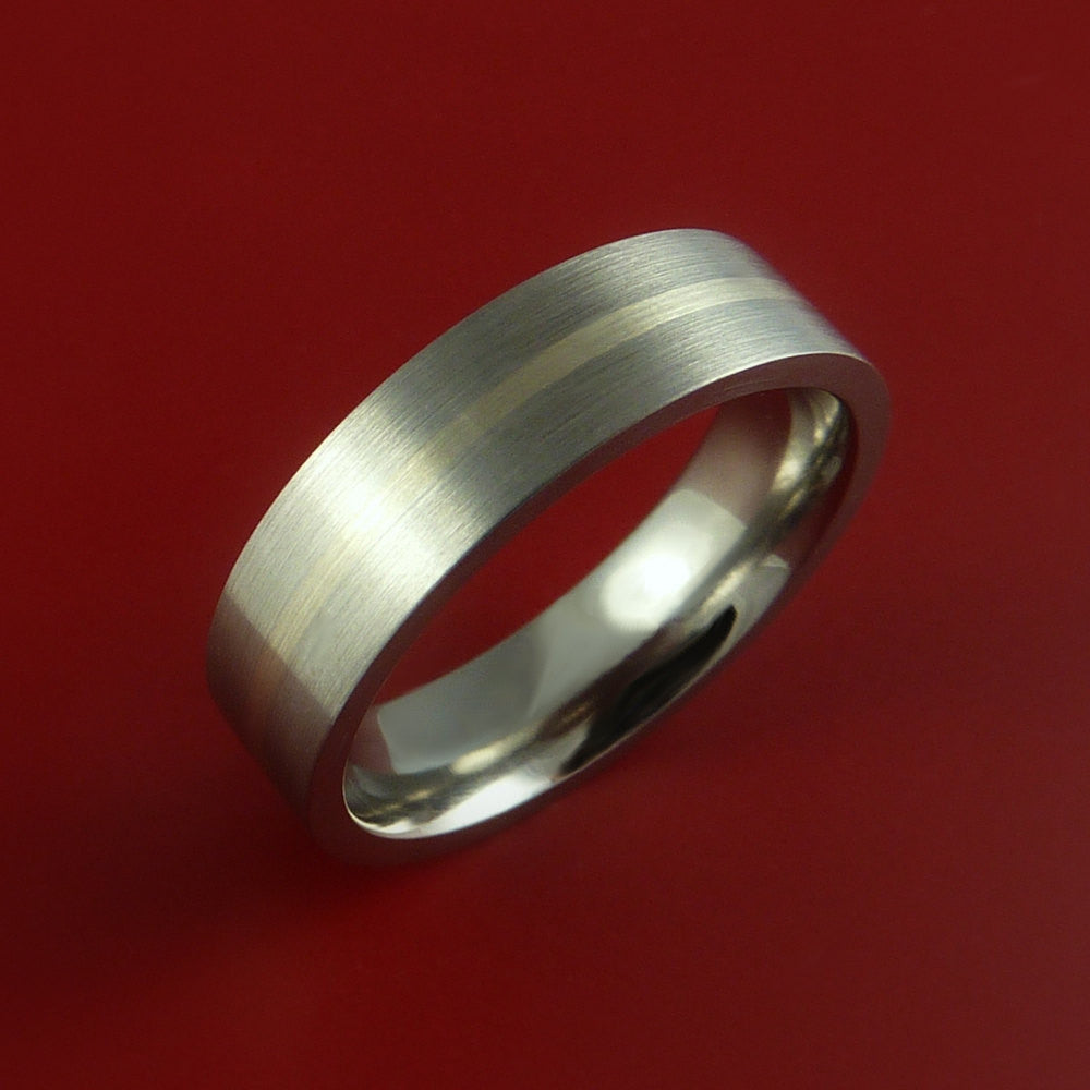 White Gold and Titanium Ring Custom Made Band Any Finish and Sizing from 3-22 by Stonebrook Jewelry