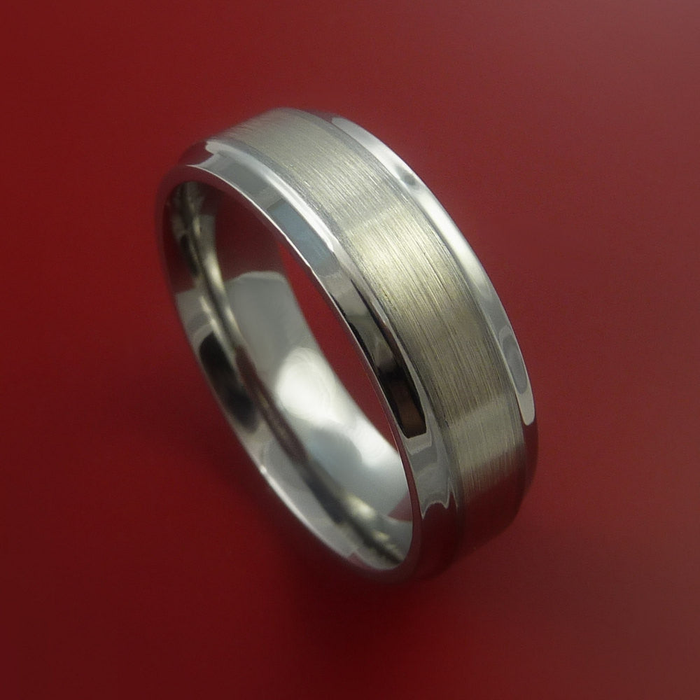 14K White Gold Ring and Titanium Band Any Finish and Sizing from 3-22 by Stonebrook Jewelry