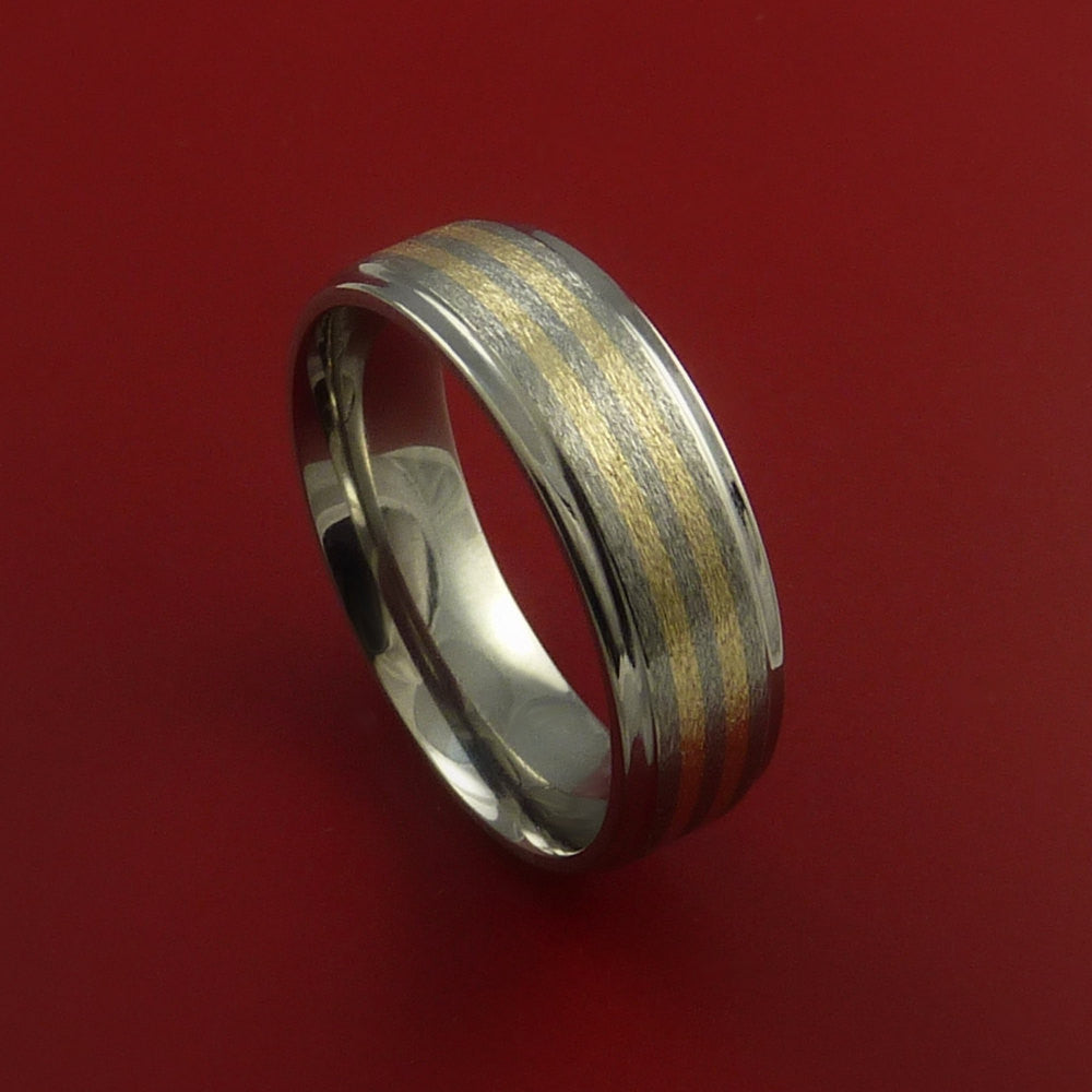 Titanium and 14k Yellow Gold Ring Custom Made Band Any Finish and Sizing 3 to 22 - Stonebrook Jewelry  - 1