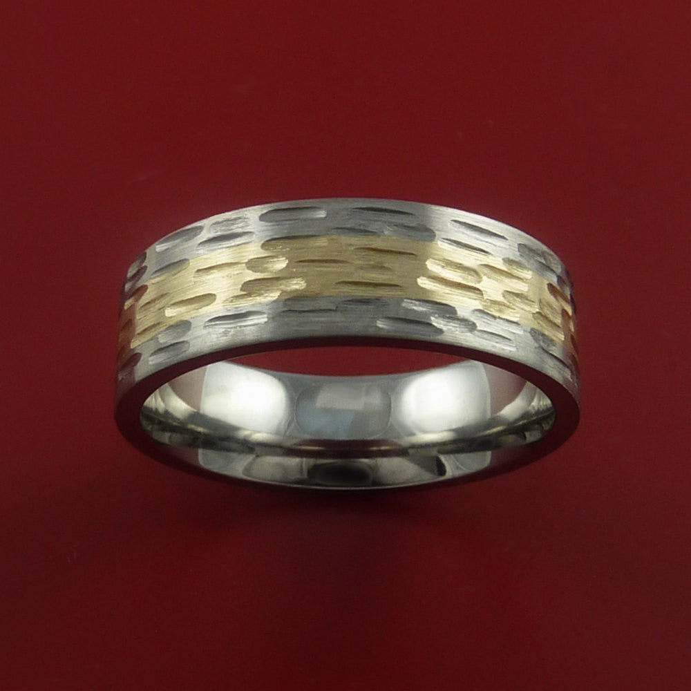 14K Yellow Gold and Titanium Textured Band Any Finish and Sizing 3 to 22