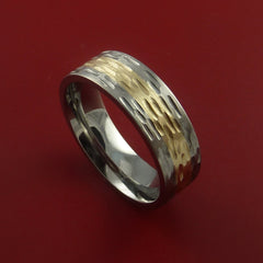 14K Yellow Gold and Titanium Textured Band Any Finish and Sizing 3 to 22 by Stonebrook Jewelry