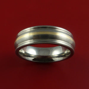 Yellow Gold and Titanium Custom Made Band Any Finish and Sizing from 3-22